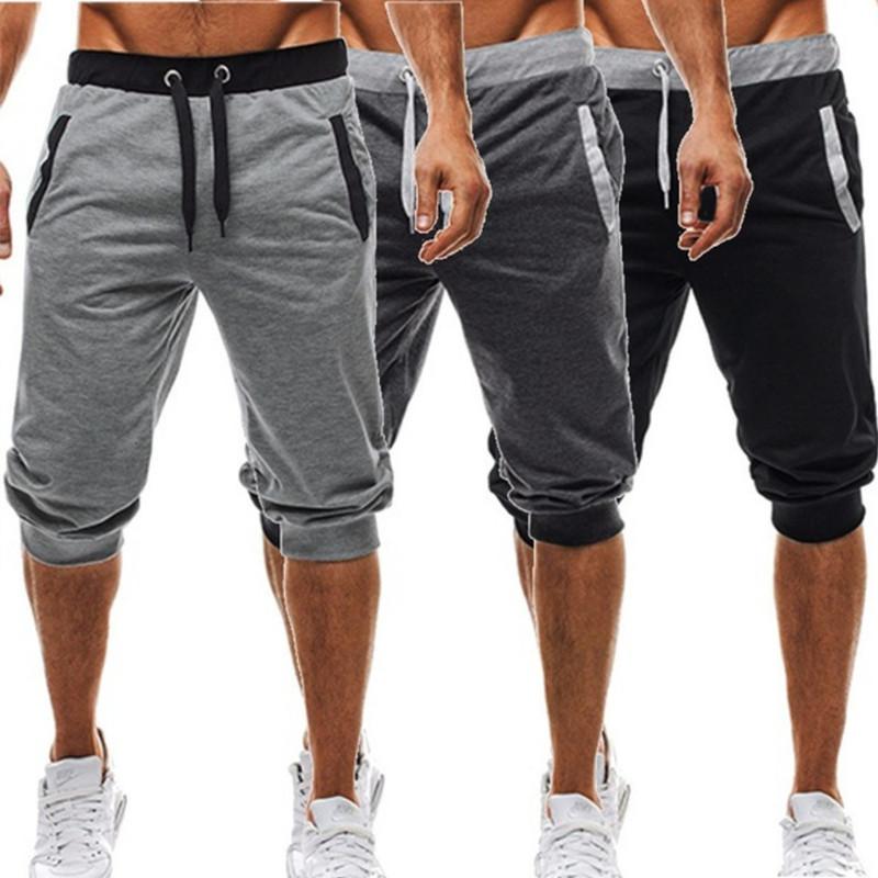 Summer men Leisure Men Knee Length Shorts Color Patchwork Joggers Short Sweatpants Trousers Men Bermuda Shorts