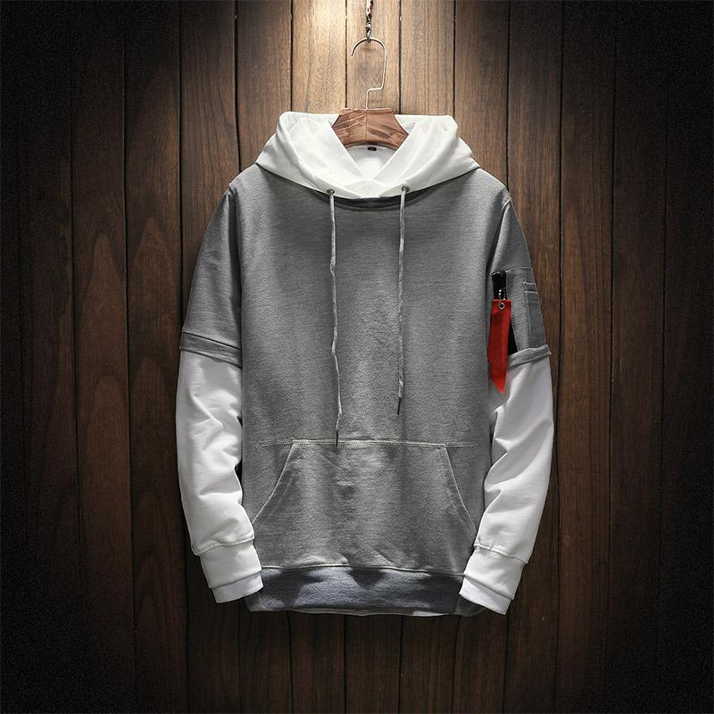 Men patchwork Long Sleeve Pullover Hoodies 2018 Sweatshirt hoodies Men high quality