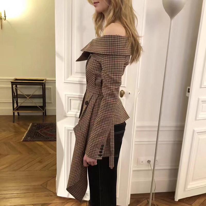 Plaid Blazer Tops Female Patchwork Slash Neck Long Sleeve Lace up Women Jacket Coat 2018 Autumn Fashion