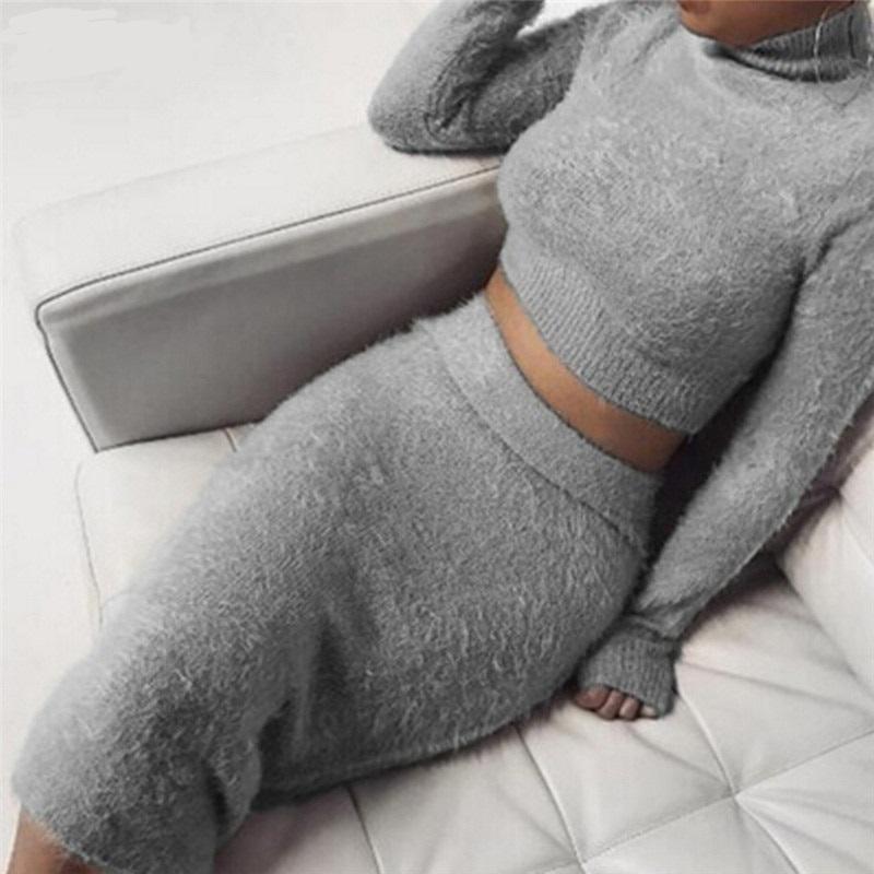 Autumn Women Bandage Suit Long Sleeve Fleece Crop Top Pencil Midi Skirt Solid Bodycon Dress Sweater Tracksuit