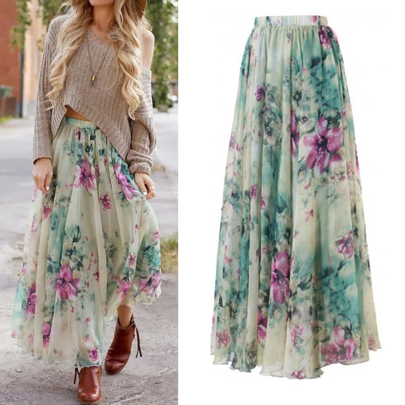 Waist Tulle Floral Chiffon Skirt Women Summer Elastic Waist Long Skirt Girl Princess Skirt Sun Fluffy Tutu Skirt Femme