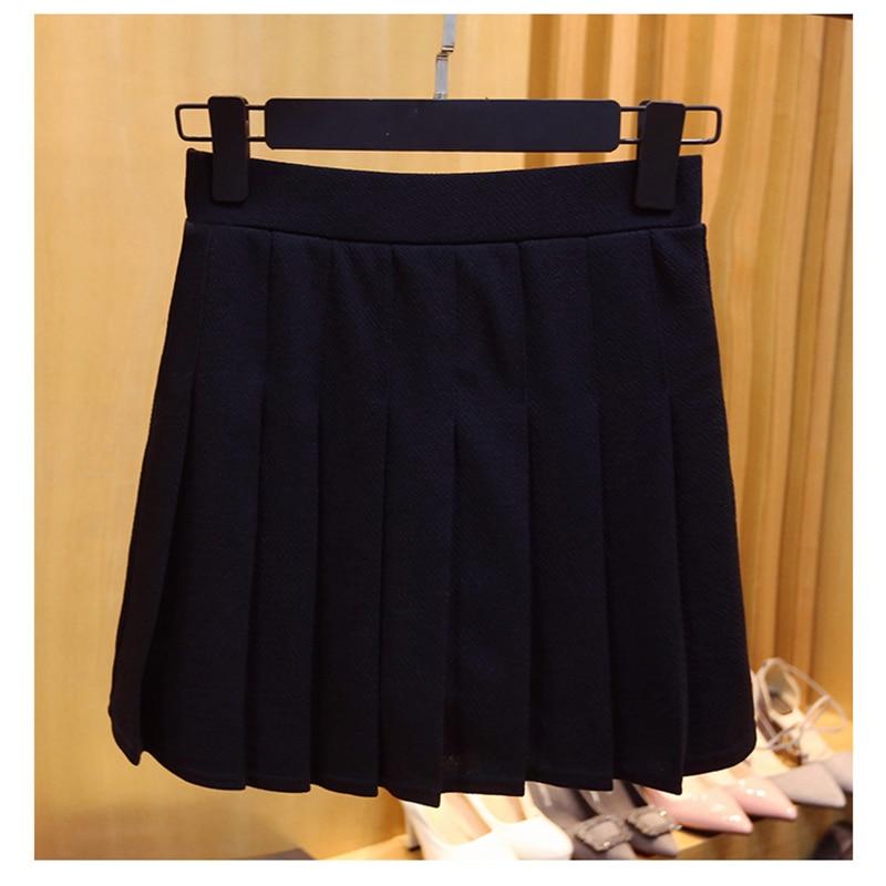 High Waist Elastic Mini Linen Women Skirts A-Line Pleated Skirt Plus Size Harajuku Kawaii Cute School Skirts Uniform