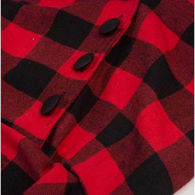 Womens Plaid Print 3/4 Sleeve Lapel Vintage 1950s Party Swing Midi Dress