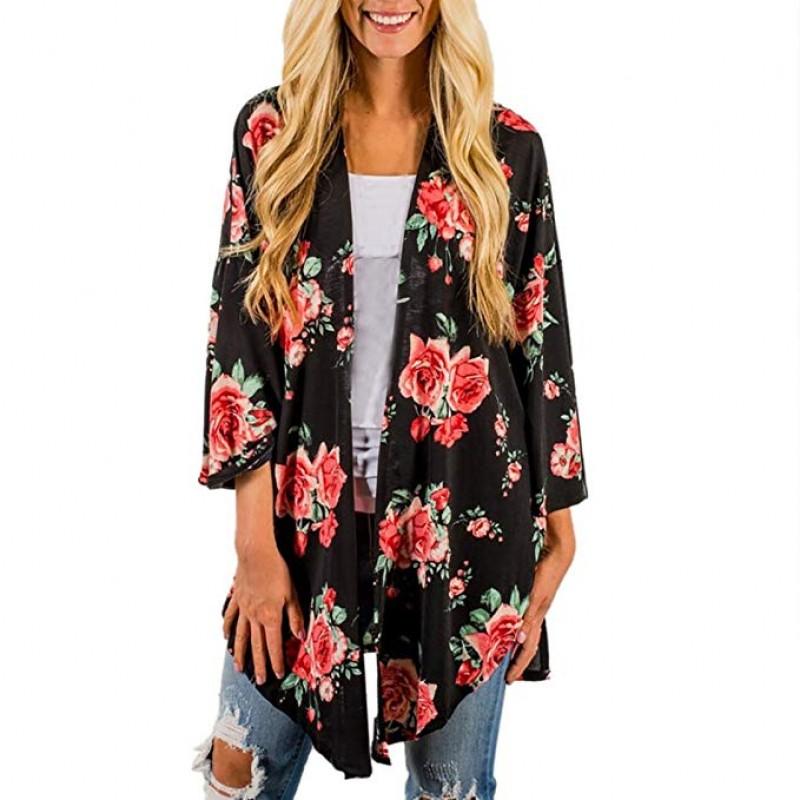Womens Print Bohemian Elegant Cardigan Ladies Long Kimono Oversized Shawl Blouse Slim Fit Tops