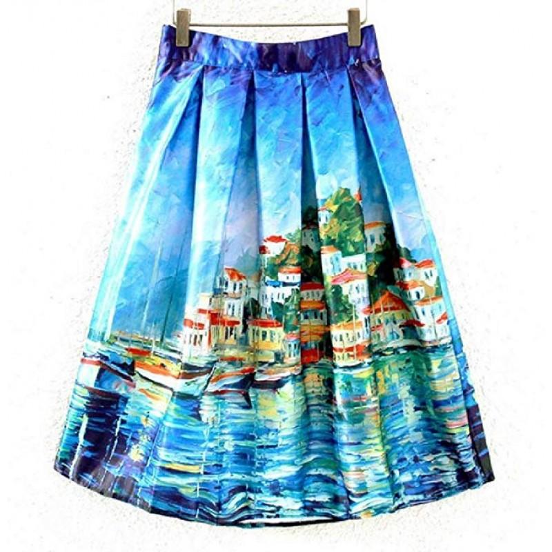 Women Wear to Work Floral High-Waist Knee-Length Skirt