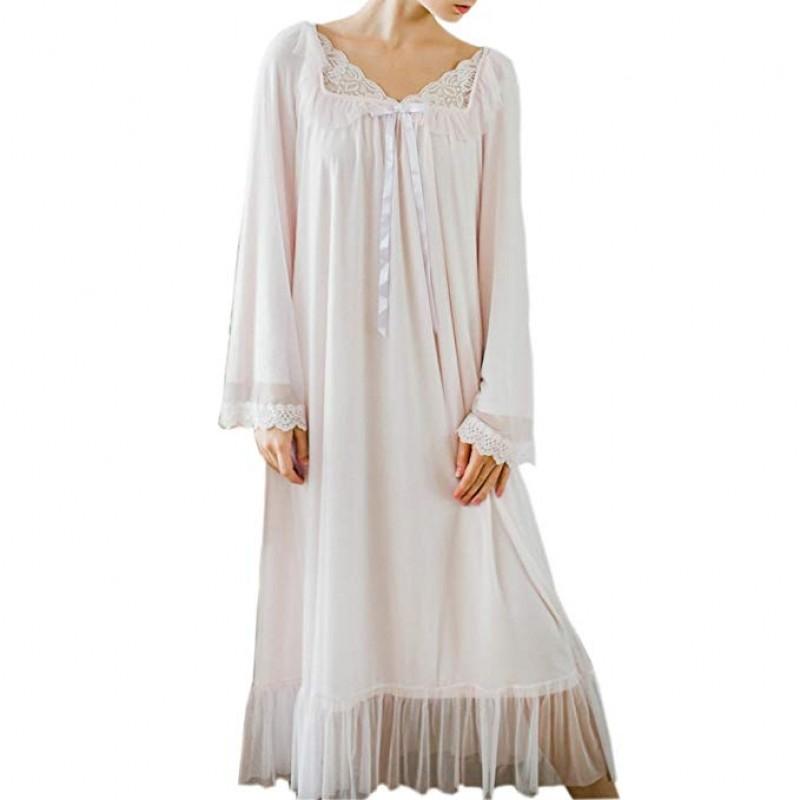 Women's Long Sheer Vintage Victorian Lace Nightgown Sleepwear Pyjamas Lounge Dress Nightwear