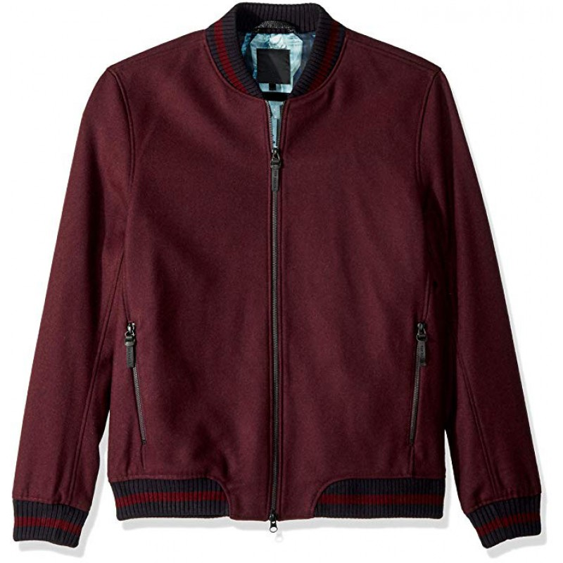 Men's Modern Slim Fit Wool Bomber Jacket