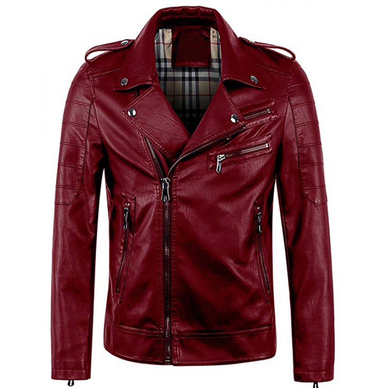 Men's Vintage Asymmetric Zip Lightweight Faux Leather Biker Jacket