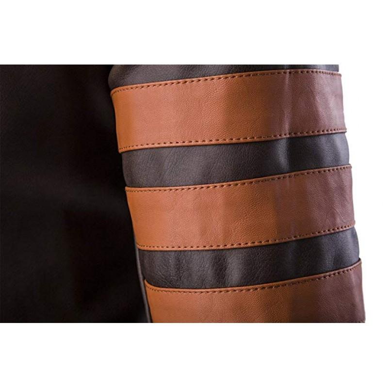 Men Vintage Faux Leather Motorcycle Jacket Brown