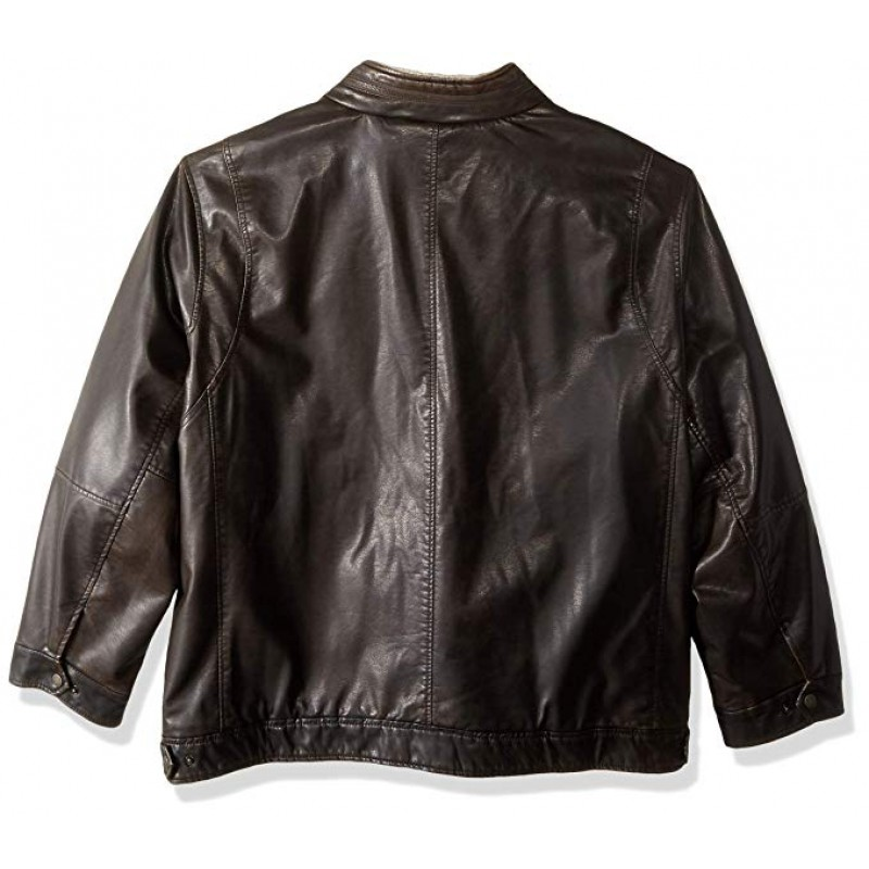 Men's Vintage Deer Faux Leather Sherpa Military Jacket